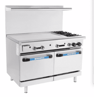 "Turbo Air TARG-36G2B 48"" 2 Burner Gas Range w/ Griddle & (2) Space Saver Ovens, Liquid Propane"