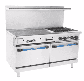 "Turbo Air TARG-36G4B 60"" 4 Burner Gas Range w/ Griddle & (2) Standard Saver Ovens, Liquid Propane"