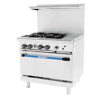 "Turbo Air TARG-4B12G 36"" 4 Burner Gas Range w/ Griddle & Standard Oven, Natural Gas"