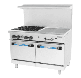 "Turbo Air TARG-4B24G 48"" 4 Burner Gas Range w/ Griddle & (2) Space Saver Ovens, Natural Gas"
