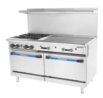 "Turbo Air TARG-4B36G 60"" 4 Burner Gas Range w/ Griddle & (2) Standard Saver Ovens, Natural Gas"