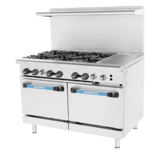 "Turbo Air TARG-6B12G 48"" 6 Burner Gas Range w/ Griddle & (2) Space Saver Oven, Natural Gas"