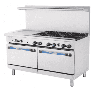 "Turbo Air TARG-6B24G 60"" 6 Burner Gas Range w/ Griddle & (2) Standard Ovens, Natural Gas"