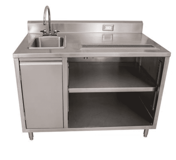 "BK Resources: BEVT-3060L: 30"" X 60"" BEVERAGE TABLE SINK ON LEFT"