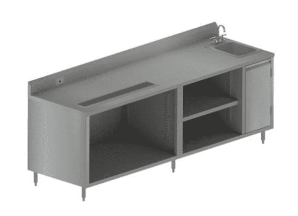 "BK Resources: BEVT-3096R: 30"" X 96"" BEVERAGE TABLE SINK ON RIGHT"