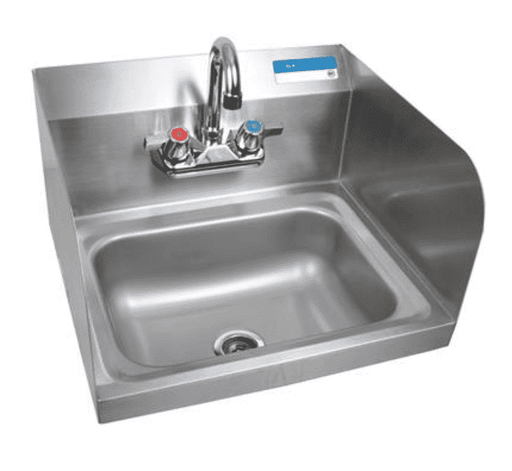 BK Resources: BKHS-W-1410-SS-P-G: SM HAND SINK 2 HOLE W SIDE SPLASHES W FAUCET