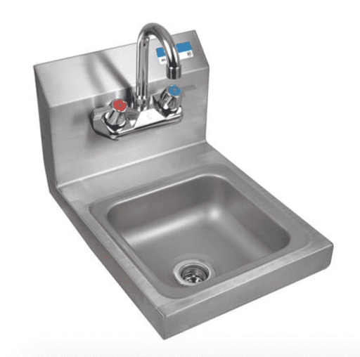 BK Resources: BKHS-W-SS-P-G: SM SPACE SAVER HAND SINK 2 HOLE W FAUCET