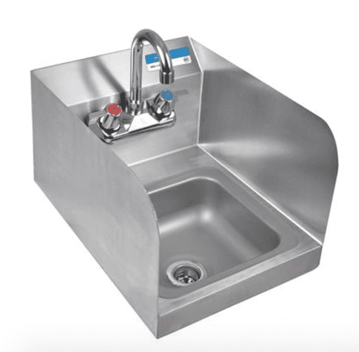 BK Resources: BKHS-W-SS-SS-P-G: SM SPACE SAVER HAND SINK 2 HOLE W FAUCET