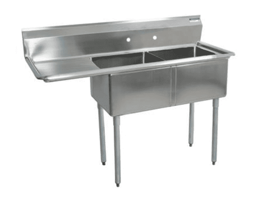 "BK Resources: BKS-2-24-14-24L: 2 COMP SINK 24X24X14D 24"" LEFT DB"