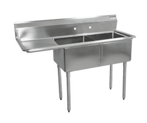 "BK Resources: BKS-2-1620-12-18L: 2 COMP SINK 16X20X12D 18"" LEFT DB"