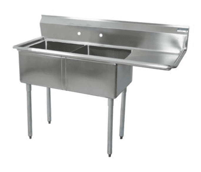 "BK Resources: BKS-2-1620-12-18R: 2 COMP SINK 16X20X12D 18"" RIGHT DB"