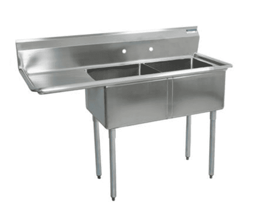 "BK Resources: BKS-2-18-12-18L: 2 COMP SINK 18X18X12D 18"" LEFT DB"