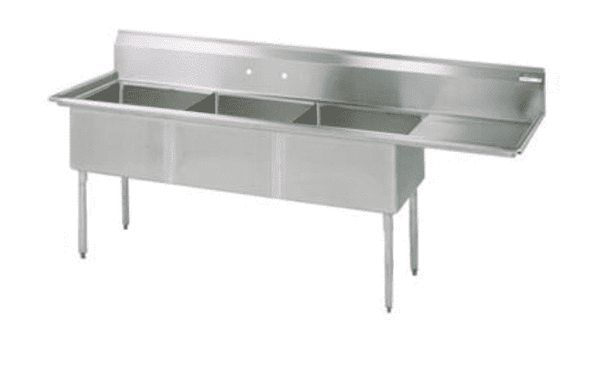 "BK Resources: BKS-3-1824-14-24R: 3 COMP SINK 18X24X14D 24"" RIGHT DB"