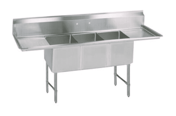 BK Resources: BKS6-3-24-14-24TS: 16 GA 3 COMP SINK 24 X 24 X 14D BOWLS