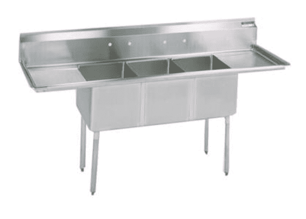 "BK Resources: ES-3-24-14-24T: ECONOMY 3 COMP SINK 24X24X14D WITH 2-24"" DB'S"