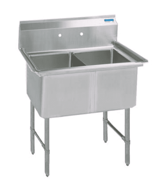 BK Resources: BKS6-2-18-14S: 16 GA 2 COMP SINK 18 X 18 X 14D BOWLS