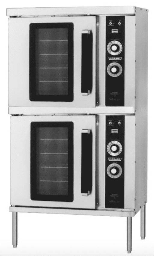 Hobart HGC202 Natural Gas Double Deck Half Size Convection Oven - 50,000 BTU