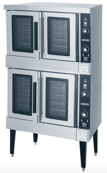 Hobart HGC502 Natural Gas Double Deck Full Size Convection Oven - 100,000 BTU