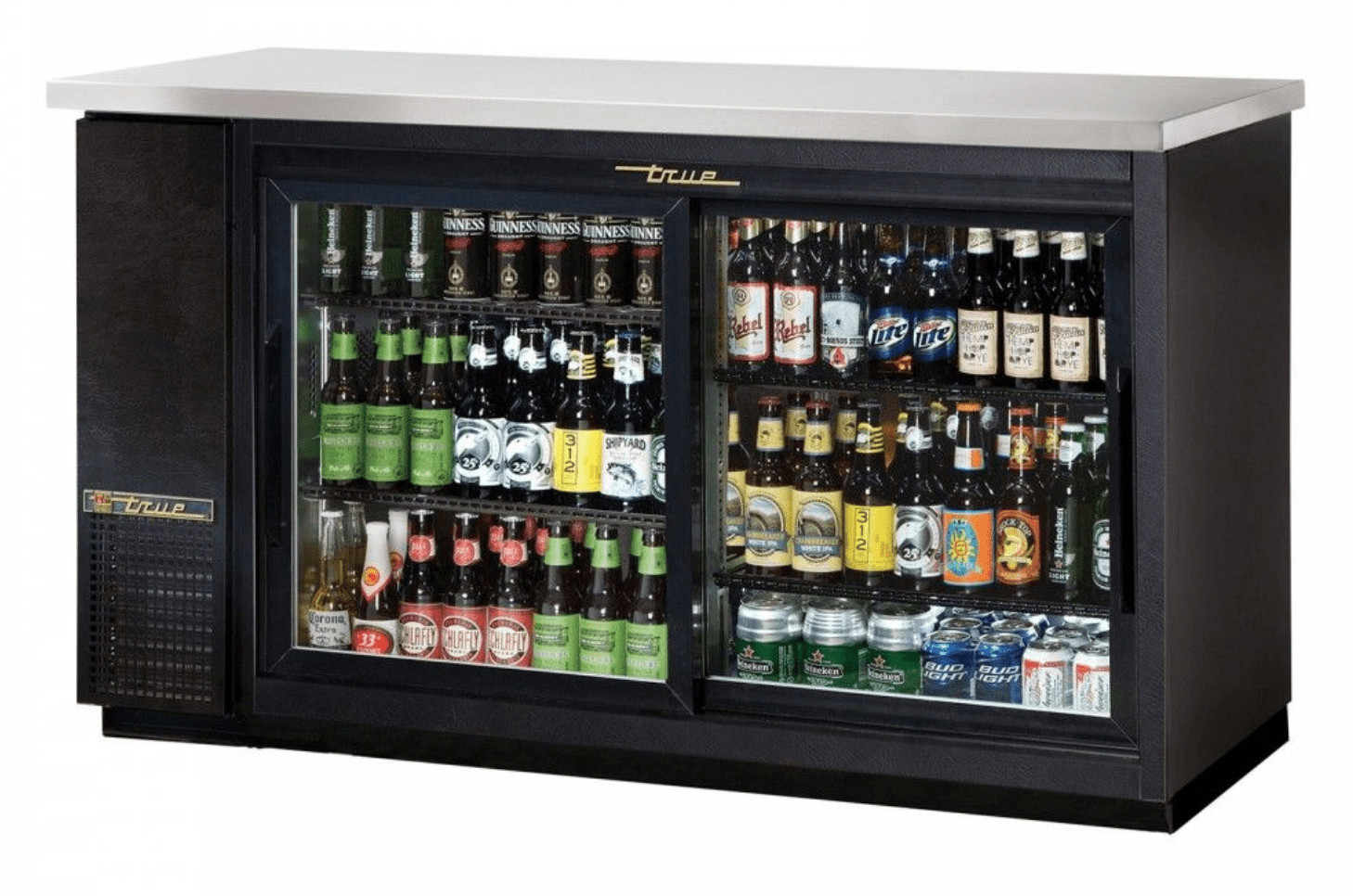 "True TBB-24-60G-SD-HC-LD 61"" 2-Glass Sliding Doors Black Vinyl Refrigerated Back Bar Cabinet"