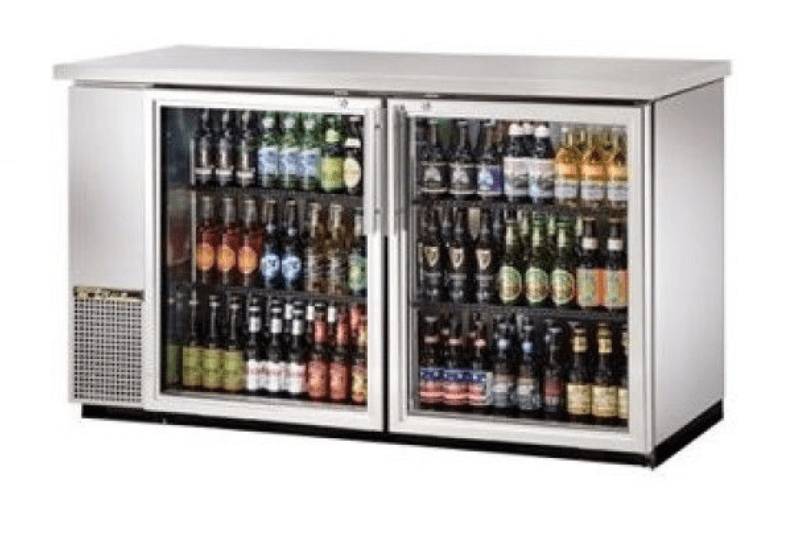 "True TBB-24-60G-S-HC-LD 61"" 2-Glass Door Stainless Steel Back Bar Cooler 