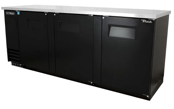 "True TBB-4-HC 90"" Bar Refrigerator - 3 Swinging Solid Doors, Black, 115v"