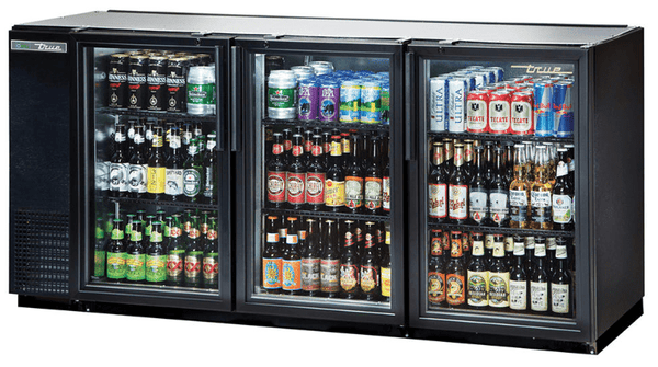 "True TBB-24GAL-72G-HC-LD 71.88"" Bar Refrigerator - 3 Swinging Glass Doors, Black, 115v"