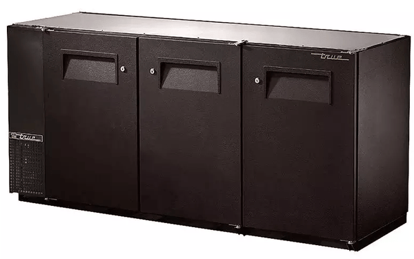 "True TBB-24GAL-72-HC 71.88"" Bar Refrigerator - 3 Swinging Solid Doors, Black, 115v"