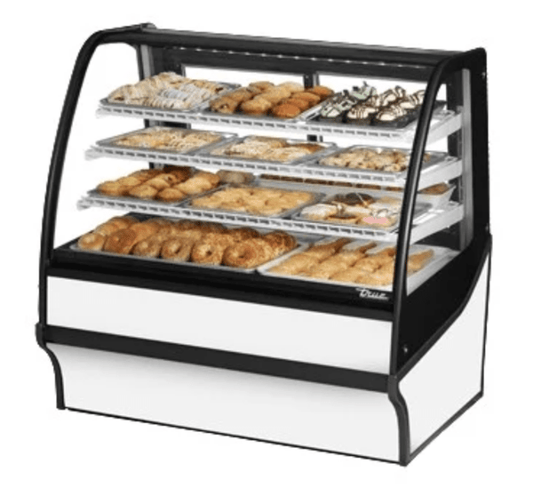 "True TDM-DC-48-GE/GE-W-W 48.25"" Full-Service Dry Bakery Case w/ Curved Glass - (4) Levels, 115v"
