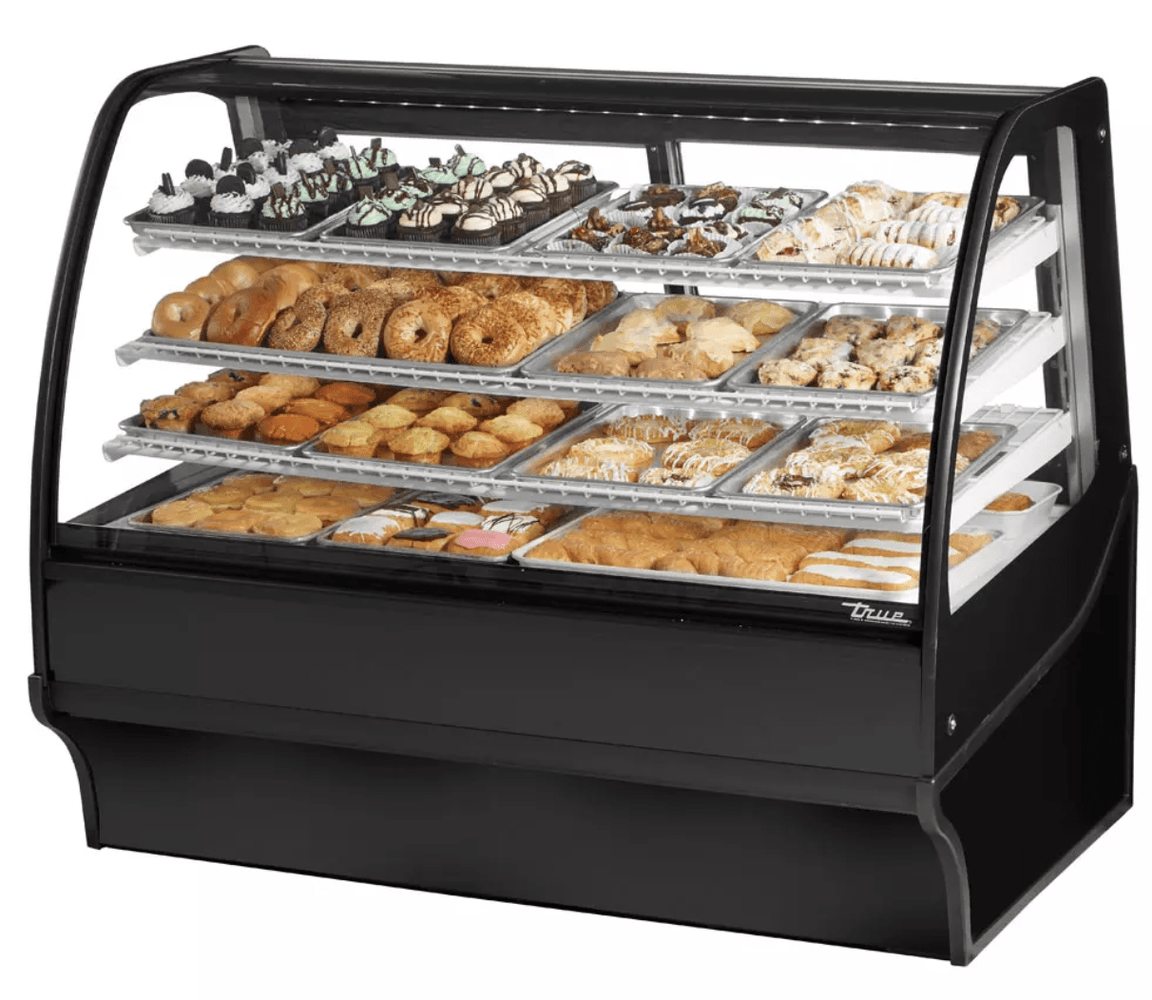 "True TDM-DC-59-GE/GE-B-W 59.25"" Full-Service Dry Bakery Case w/ Curved Glass - (4) Levels, 115v"