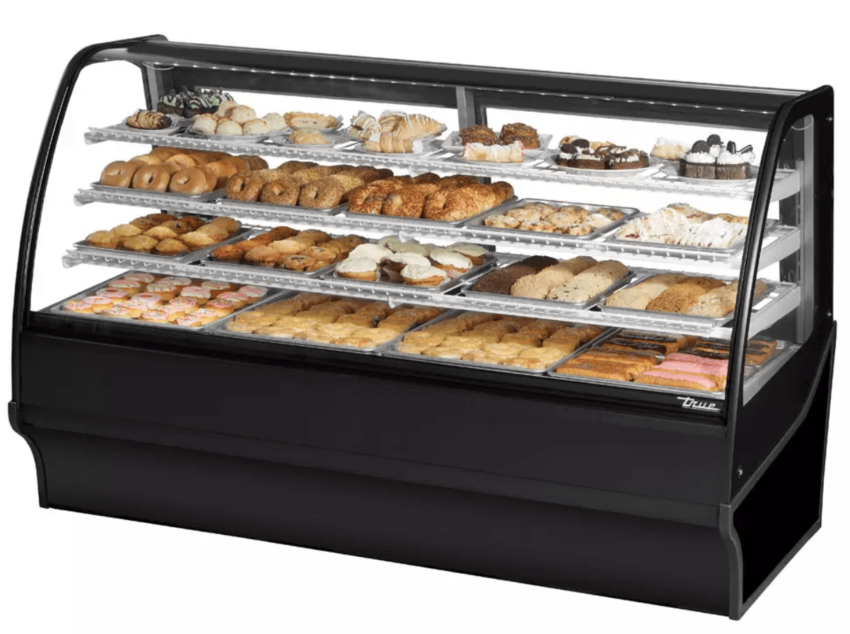"True TDM-DC-77-GE/GE-S-S 77.25"" Full-Service Dry Bakery Case w/ Curved Glass - (4) Levels, 115v"