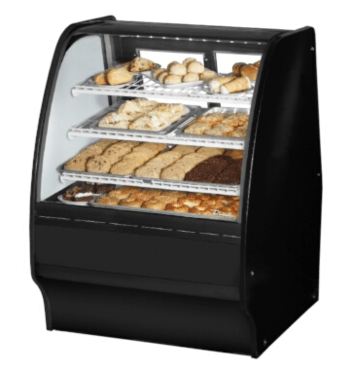 "True TGM-DC-36-SC/SC-B-W - Non-Refrigerated Merchandiser, 36-1/4""L, curved glass, black"