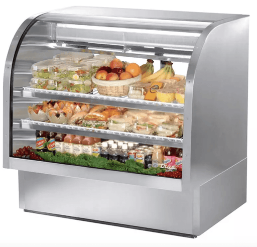 "True TCGG-48-S-LD 48"" Full Service Deli Case w/ Curved Glass - (3) Levels, 115v"