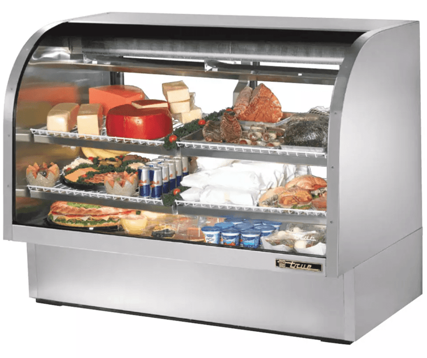 "True TCGG-60-S-LD 60"" Full Service Deli Case w/ Curved Glass - (3) Levels, 115v"