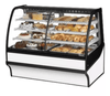 "True TDM-DZ-59-GE/GE-S-W 59 1/4"" Full Service Dual Zone Bakery Case w/ Curved Glass - (4) Levels, 115v"