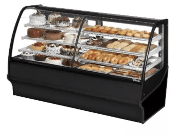 "True TDM-DZ-77-GE/GE-S-S 77 1/4"" Full Service Dual Zone Bakery Case w/ Curved Glass - (4) Levels, 115v"