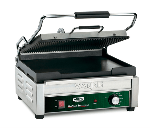 Waring WDG250 Double Commercial Panini Press w/ Cast Iron Grooved & Smooth Plates, 120v