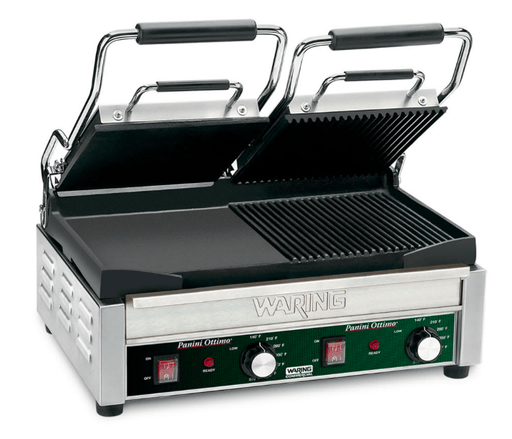 Waring WDG300 Double Commercial Panini Press w/ Cast Iron Grooved & Smooth Plates, 240v/1ph