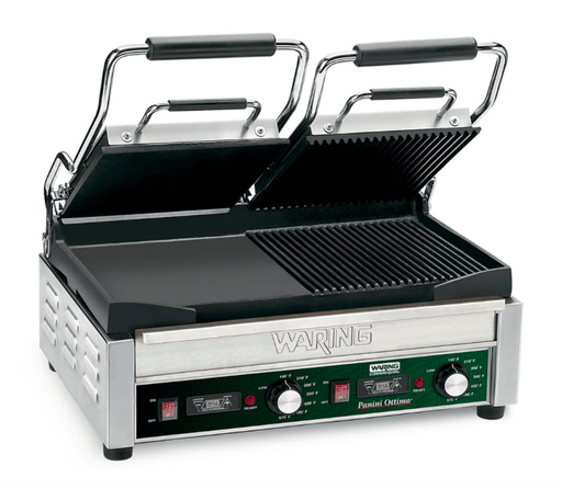 Waring WDG300T Double Commercial Panini Press w/ Cast Iron Grooved & Smooth Plates, 240v/1ph