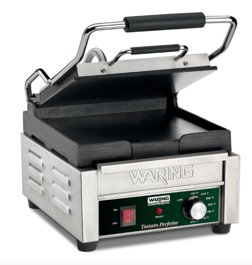 Waring WFG150 Single Commercial Panini Press w/ Cast Iron Smooth Plates, 120v