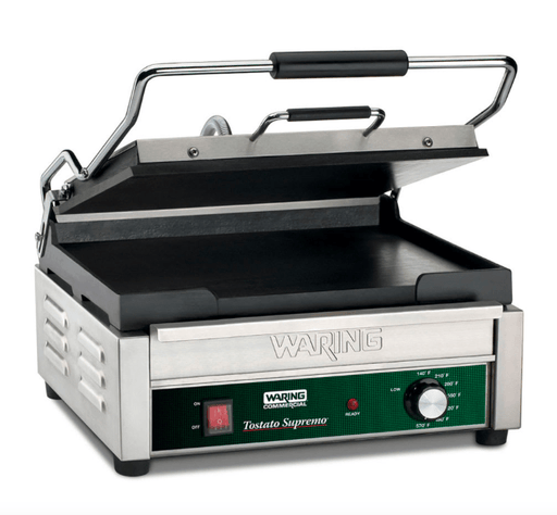 Waring WFG275 Single Commercial Panini Press w/ Cast Iron Smooth Plates, 120v