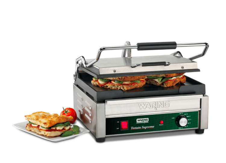 Waring WFG250T Single Commercial Panini Press w/ Cast Iron Smooth Plates, 120v
