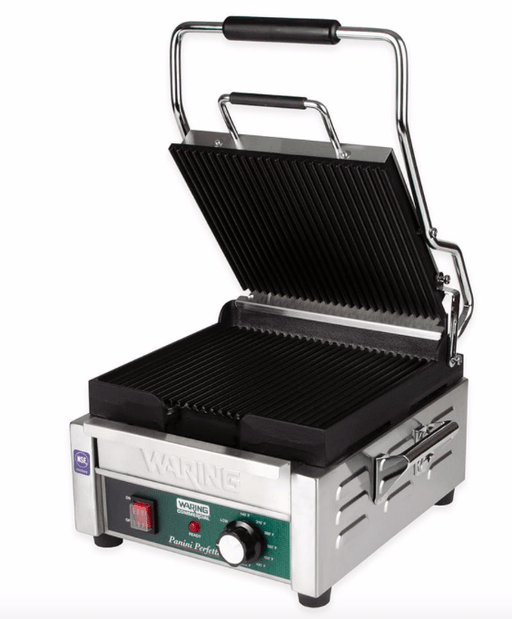 Waring WPG250 Single Commercial Panini Press w/ Cast Iron Grooved Plates, 120v