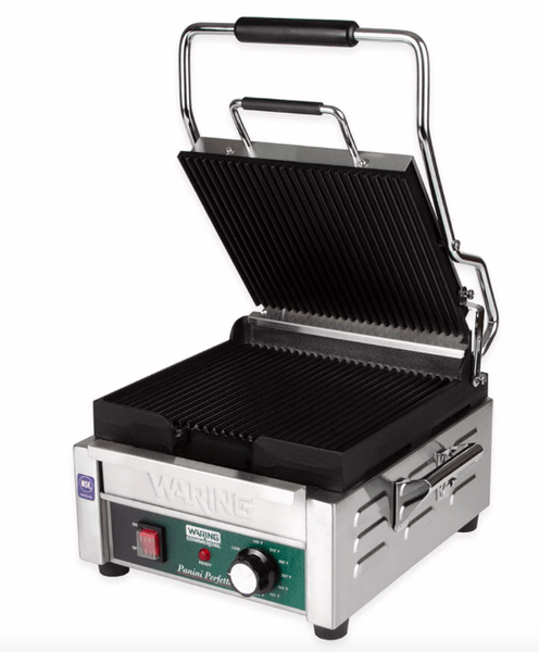 Waring WPG150 Single Commercial Panini Press w/ Cast Iron Grooved Plates, 120v