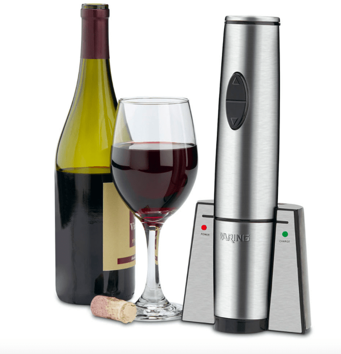 Waring WWO120 Portable Wine Bottle Opener w/ 120 Cork/Charge, Stainless Housing
