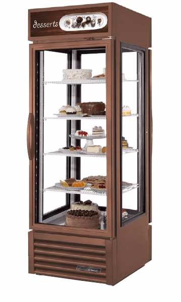 "True G4SM-23PT-HC~TSL01 COPPER 28"" Full Service Bakery Case w/ Straight Glass - (5) Levels, Copper, 115v"
