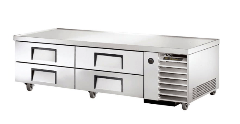 "True TRCB-79 79"" Chef Base w/ (4) Drawers - 115v"