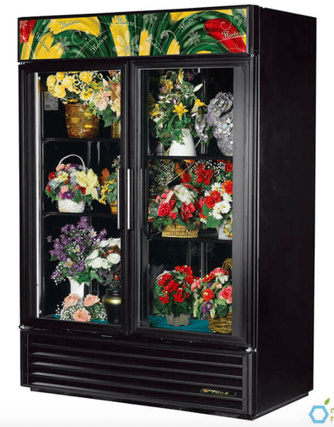 True GDM-49FC-HC~TSL01 2 Section Floral Cooler w/ Swinging Door - Black, 115v