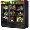 True GDM-69FC-HC-LD 3 Section Floral Cooler w/ Sliding Door - Black, 115v