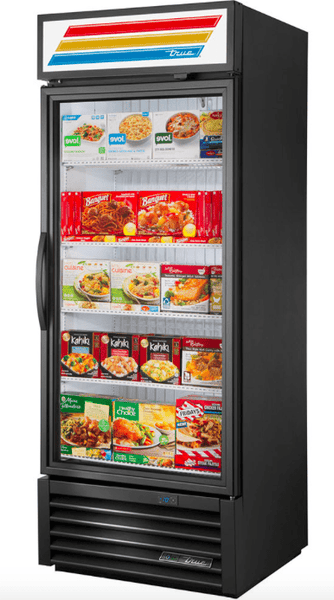 "True GDM-26F-HST-HC~TSL01 30"" One Section Display Freezer w/ Swing Door - Bottom Mount Compressor, Black, 115v"