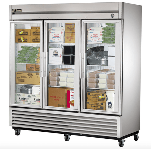 "True T-72FG-HC~FGD01 78"" Three Section Reach-In Freezer, (3) Glass Door, 115v"